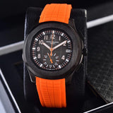Patek Philippe Aquant Luce Black Case Orange, Blue 41 mm With Rubber Band Mechanical Self-Wind  Luxury Men's Watch - My Watch Land
