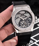 Hublot Classic Silver Case with Leather Band 45 mm Men`s Mechanical Tourbillon Luxury Watch - My Watch Land