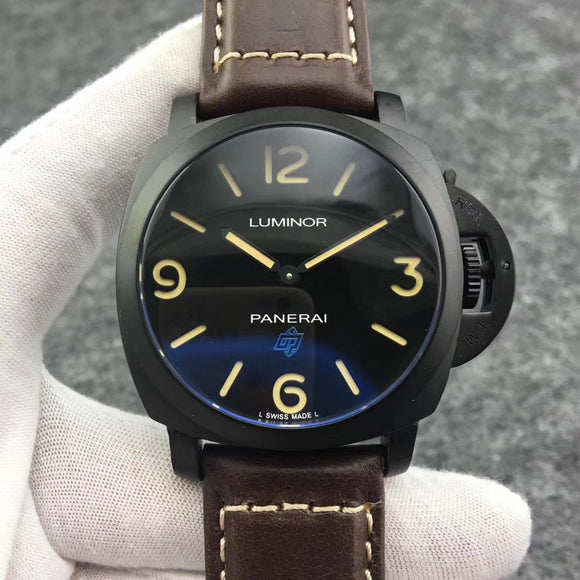Panerai Luminor Firenze Black Case Black Leather Band Luxury Men Watch