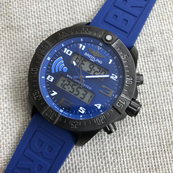 Breitling Exospace B55 Blue Connected Digital  Rubber Band 46 mm Luxury Men's Watch - My Watch Land