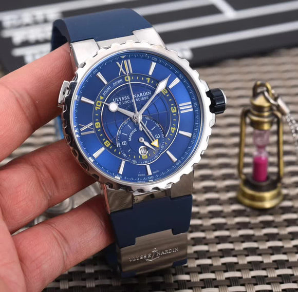 Ulysse Nardin Marine Regatta Silver Quartz Luxury Men Watch