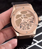 Hublot Classic Rose-Gold Case with Leather Band 45 mm Men`s Mechanical Tourbillon Luxury Watch - My Watch Land