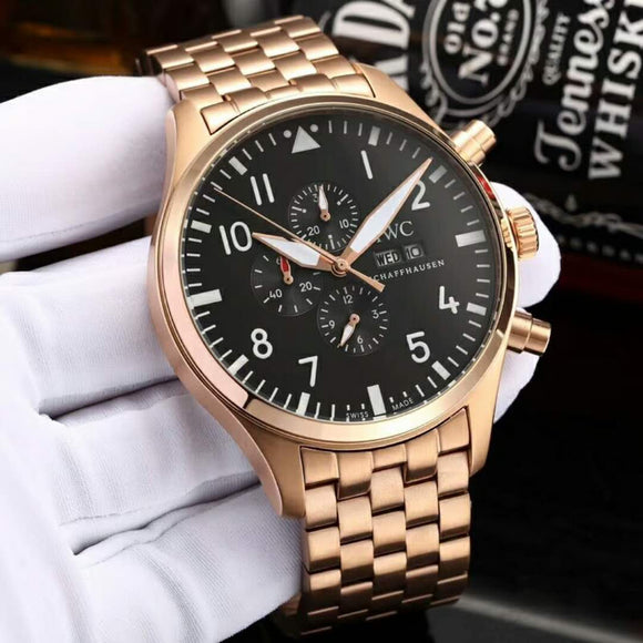 IWC Pilot Gold Stainless Steel Bracelet Luxury Men Watch