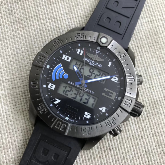 Breitling Exospace B55 Black Connected Digital  Rubber Band 46 mm Luxury Men's Watch - My Watch Land