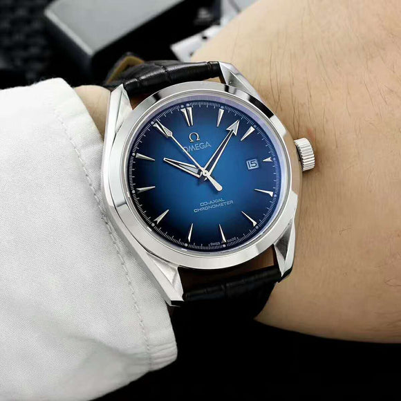 Omega Chronometer Co-Axial Escapement Blue Luxury Men Watch