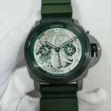 Panerai Lo Scienziato Green Rubber Strap 47 mm Men`s Automatic Self-Wind Luxury Watch - My Watch Land