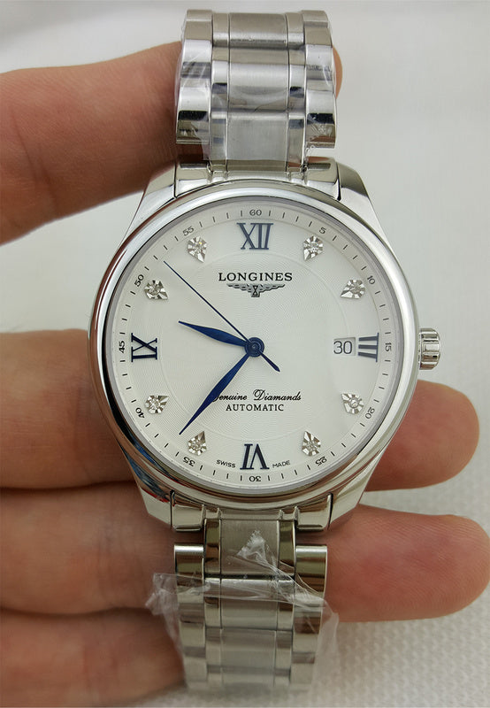 Longines Genuine Diamonds Automatic Silver Stainless Steel Luxury Men Watch