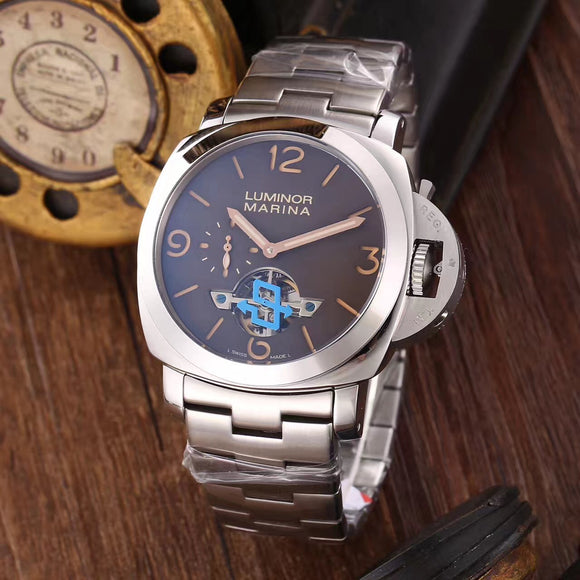 Panerai Luminor Marina 1950 Silver Stainless Steel Tourbillon Luxury Men's Watch