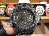 Hublot Big Bang Sang Bleu I Black Diamond White Leather Band 48 mm Luxury Men Watch