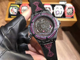 Hublot Big Bang Sang Bleu I Pink Diamond Black Leather Band 48 mm Luxury Men Watch