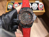Hublot Big Bang Sang Bleu I Red Diamond Red Leather Band 48 mm Luxury Men Watch