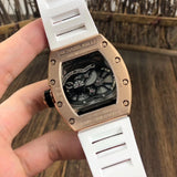 Richard Mille RM-053 Pablo MacDonough Gold White Rubber Band Luxury Men Watch