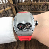 Richard Mille RM-053 Pablo MacDonough Silver Red Rubber Band Luxury Men Watch