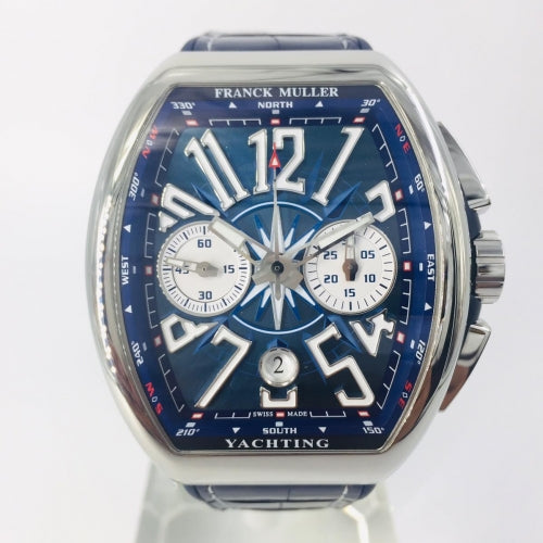 Franck Muller Vanguard Yachting 44 mm Automatic Self-Wind Silver/Blue Luxury Men's Watch - My Watch Land