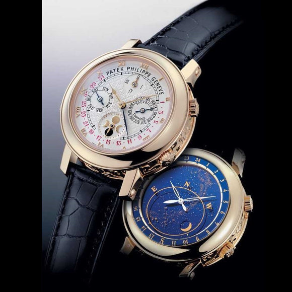 Patek Philippe Sky Moon Gold Case 2 Side Engraved Luxury Men Watch