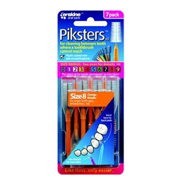 Piksters Size 8 Orange Interdental Brush - Pack of 7 - Nieboo