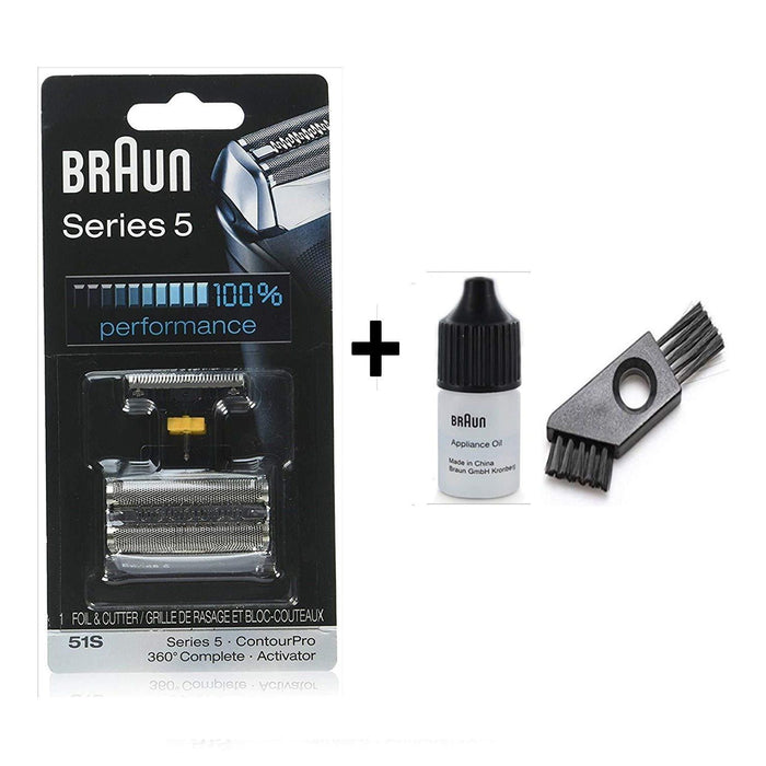 Braun Series 5 51S Shaver Replacement Foil and Cutter Pack with Braun Oil and Cleaning Brush - Nieboo