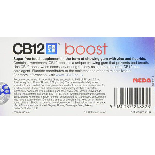 CB12 Boost Sugar Free Chewing Gum Strong Mint - Nieboo