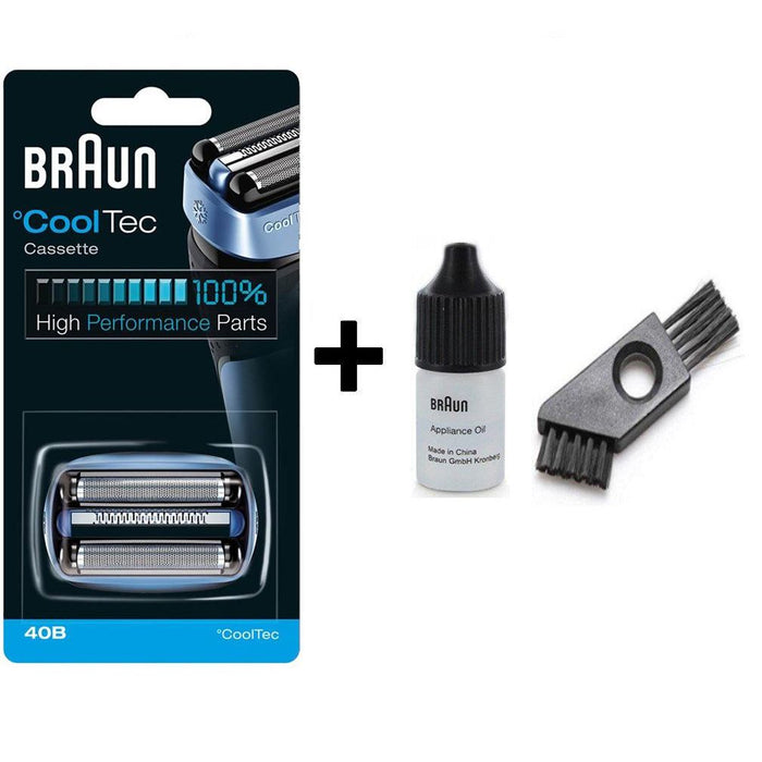 Braun CoolTec 40B Shaver Replacement Foil and Cutter Pack with Braun Oil and Cleaning Brush - Nieboo