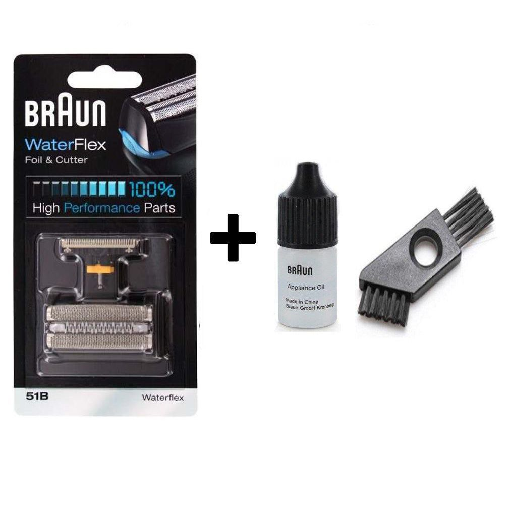 Braun Waterflex 51B Shaver Replacement Foil and Cutter Pack with Braun Oil and Cleaning Brush - Nieboo