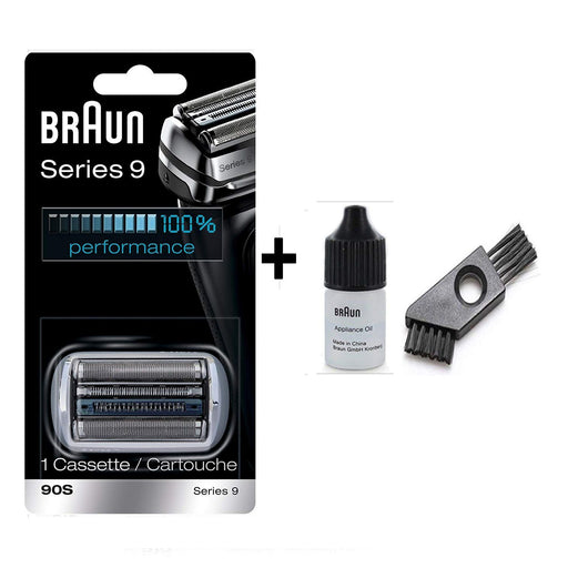 Braun Series 9 90S Shaver Replacement Foil and Cutter Pack with Braun Oil and Cleaning Brush - Nieboo
