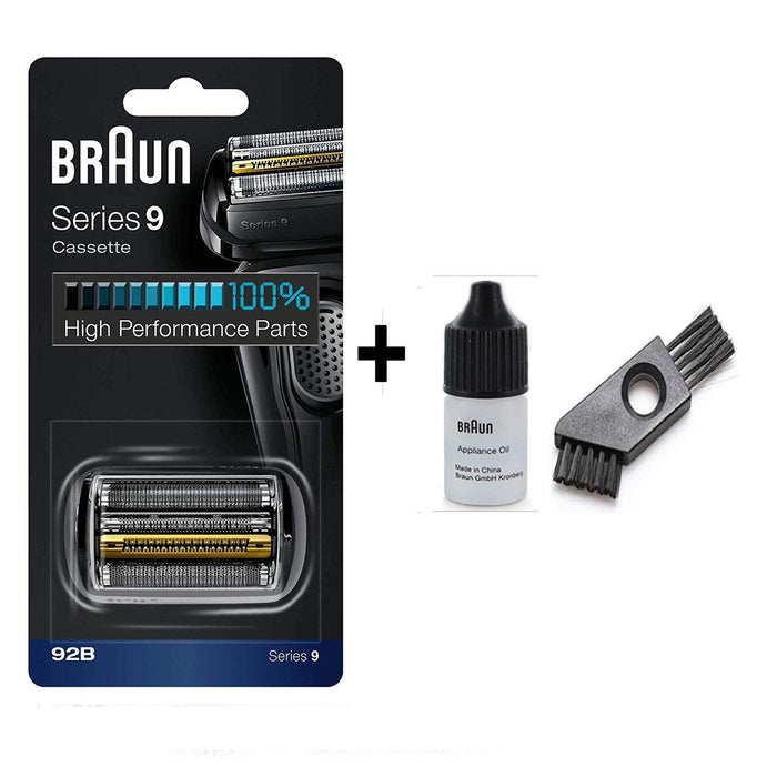Braun Series 9 92B Shaver Replacement Foil and Cutter Pack with Braun Oil and Cleaning Brush - Nieboo