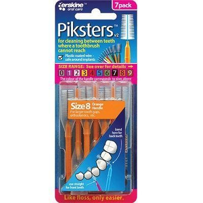 Piksters Interdental Brush - Size 8 Orange - 7 Brushes Per Pack ( Four Pack ) - Nieboo
