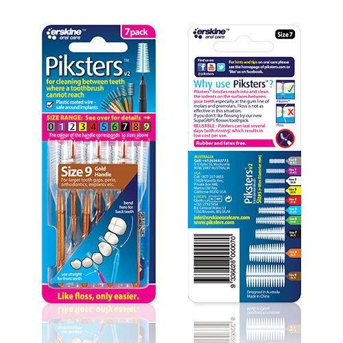 Piksters Interdental Brush - Size 9 Gold - 7 Brushes Per Pack ( Eight Pack ) - Nieboo