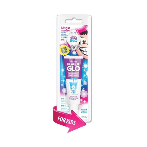 Piksters Plaque Glo Child Disclosing Yummy Tropical Flavor Toothpaste - 25g (10 Pack) - Nieboo