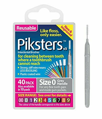 Piksters Silver/Grey Interdental Brush Size 0 40pack - Nieboo