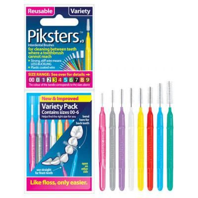 Piksters Interdental Brush (Variety Pack Sizes 00 to 6) X 8 - Nieboo