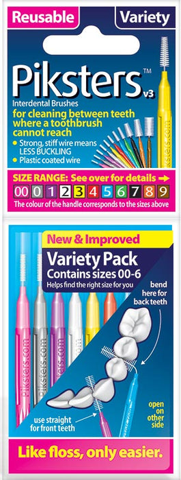 Piksters Interdental Brush (Variety Pack Sizes 00 to 6) X 8 ( Nine Pack ) - Nieboo