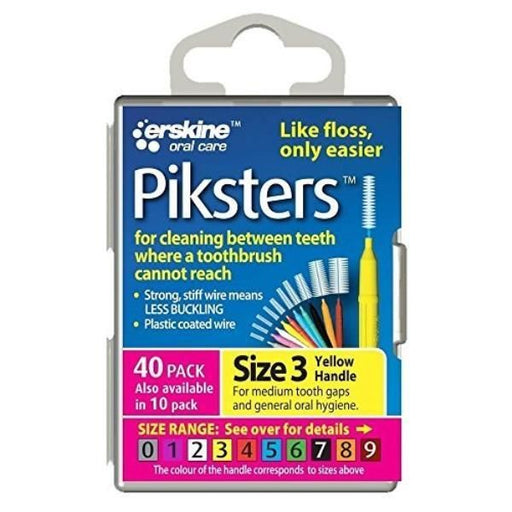 Piksters Yellow Interdental Brush Size 3 - 40 Brushes Per Pack - Nieboo