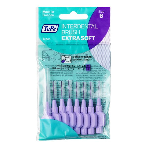 TePe Interdental Brushes Purple Extra Soft - 1.1 mm ( Seven Pack ) - Nieboo