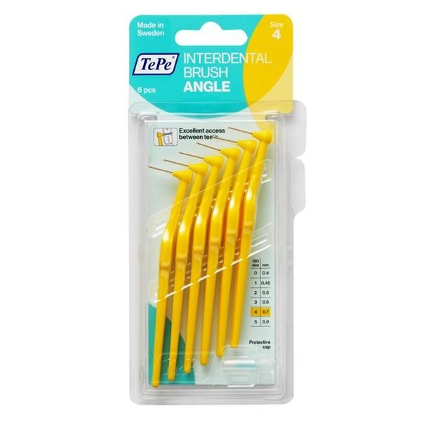 TePe Angle 6 Yellow Interdental Brushes - 0.7mm - Nieboo