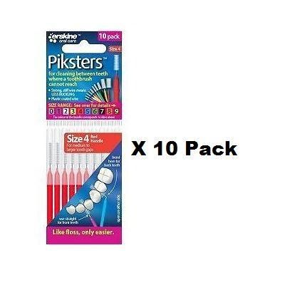 Piksters Red Interdental Brushes (4 Pack) - Nieboo