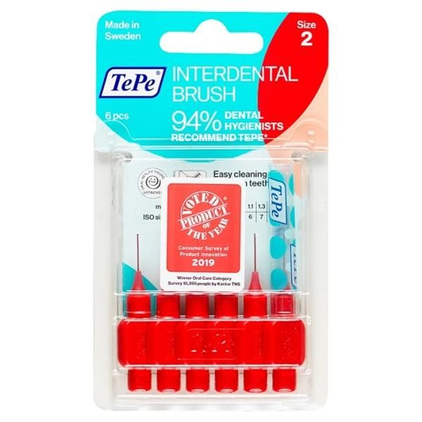 TePe Interdental Brushes Red Original - ISO size 2 ( Seven Pack ) - Nieboo