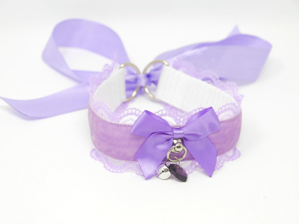 Lilac Velvet & Lace Submissive Collar