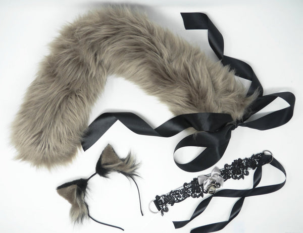 Ash Grey & Black Kitten Play Set