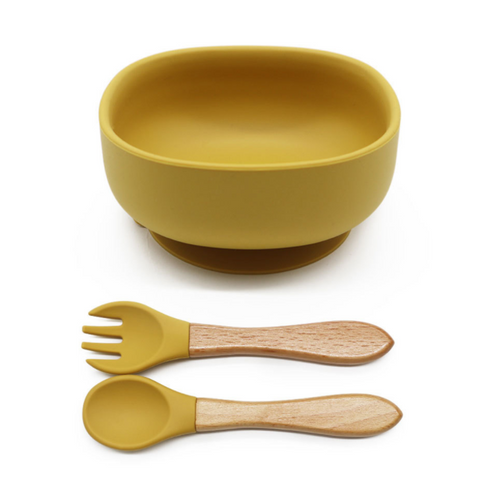 Silicone Suction Bowl Set | Mustard