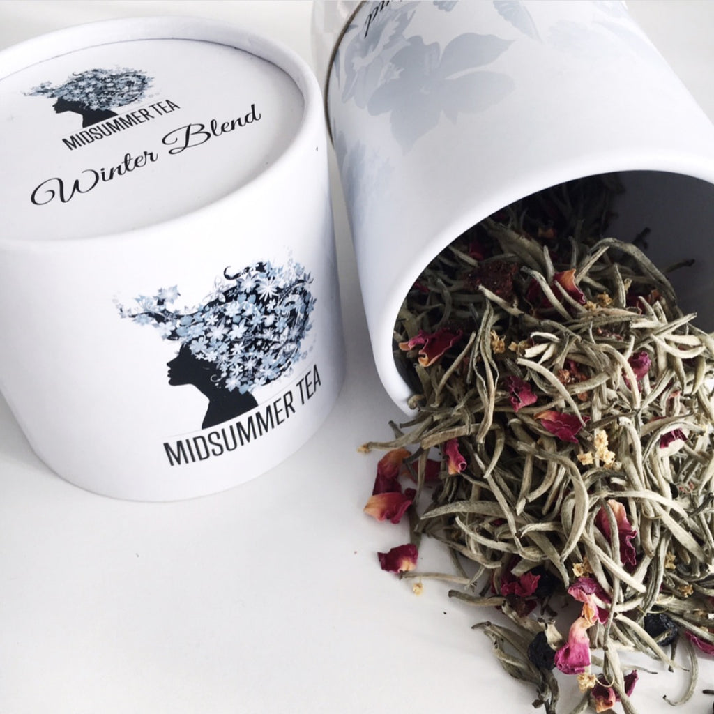 Midsummer Tea, winter blend is handcrafted using ginger, blueberries, apple, cinnamon and vanilla