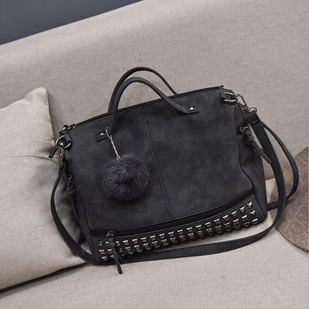 Versatile Leather Shoulder Bag Black