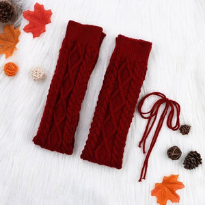 Thigh High Cable Knit Footless Stockings
