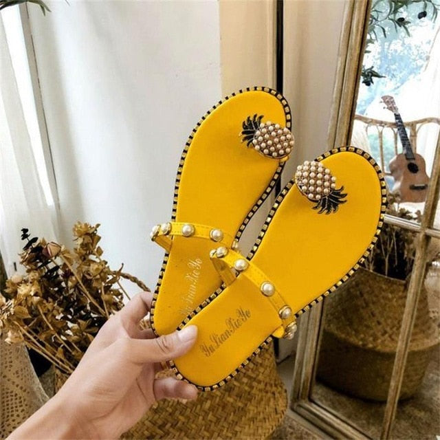 Pineapple Toe Ring Sandals - Multiple Styles 4 Yellow pearl