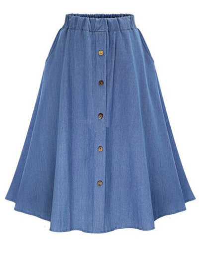 Elastic Waist Denim Flare Skirt With Buttons