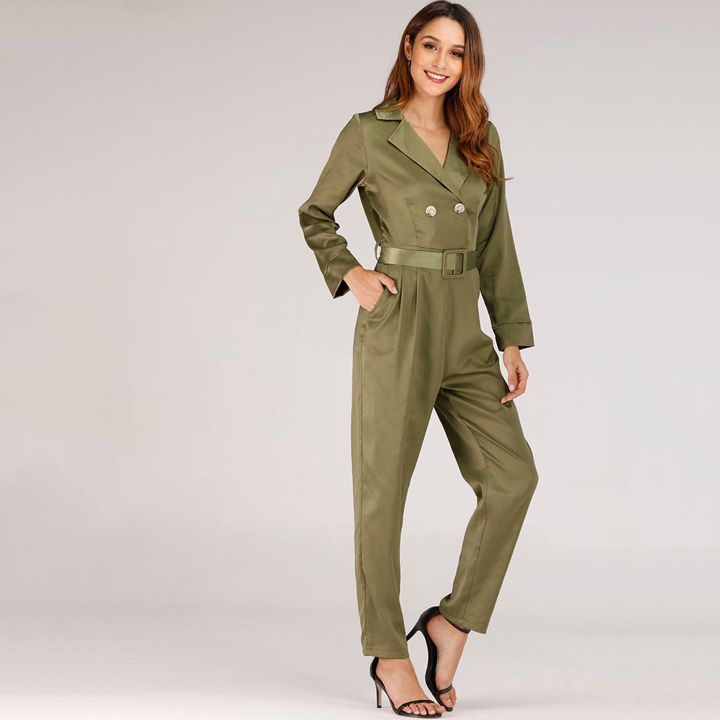 Double Button Belted Notched Neck Satin Jumpsuit