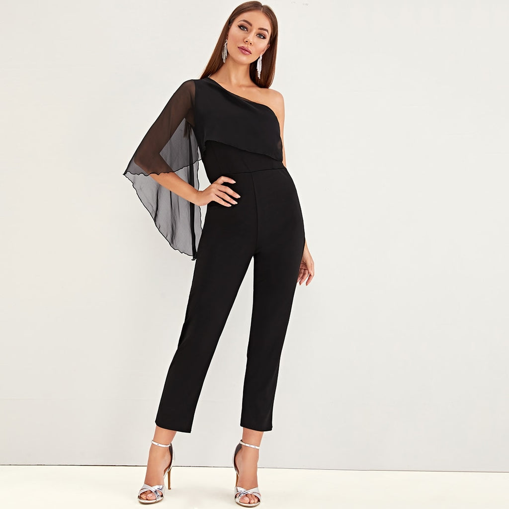 Solid Mesh Contrast One Shoulder Jumpsuit