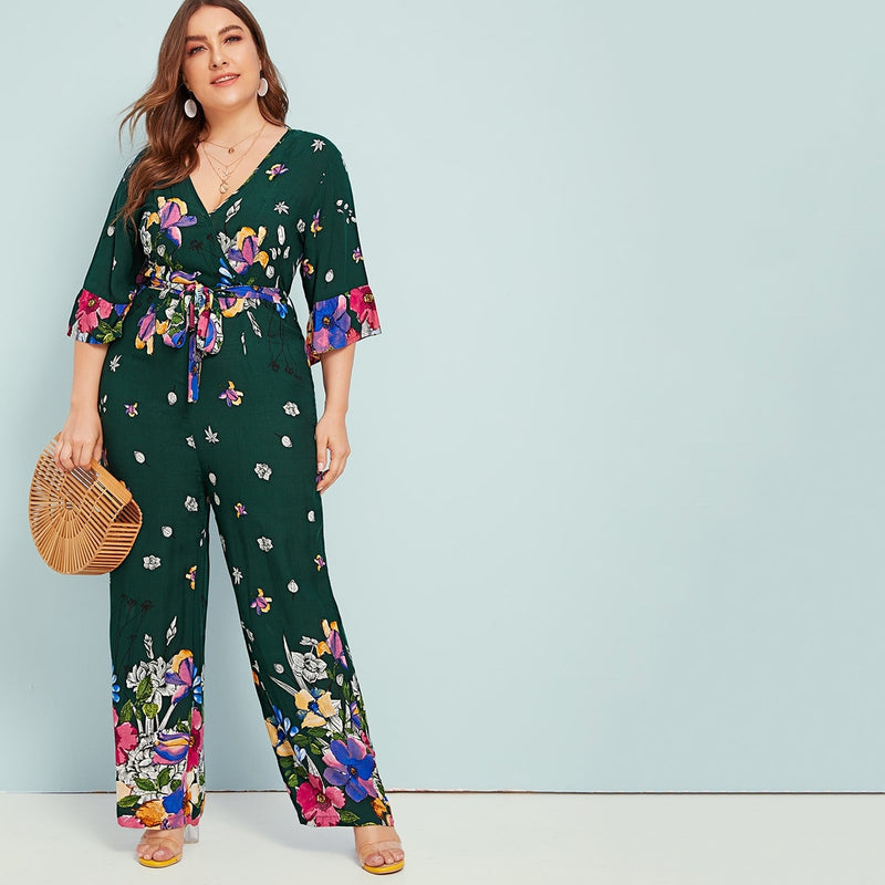 Plus Floral Print Belted Wide Leg Jumpsuit