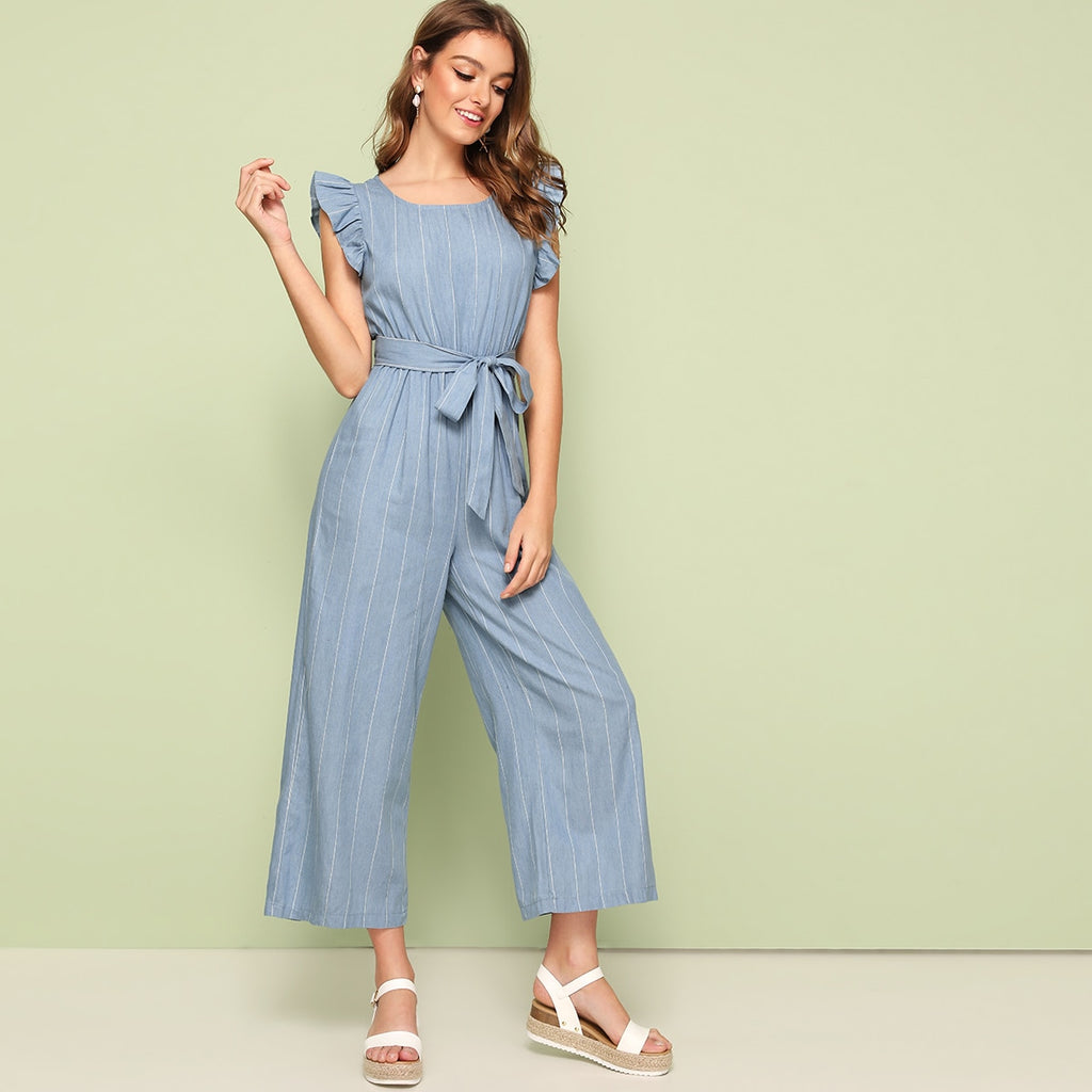 Striped Ruffle Hem Belted Jumpsuit