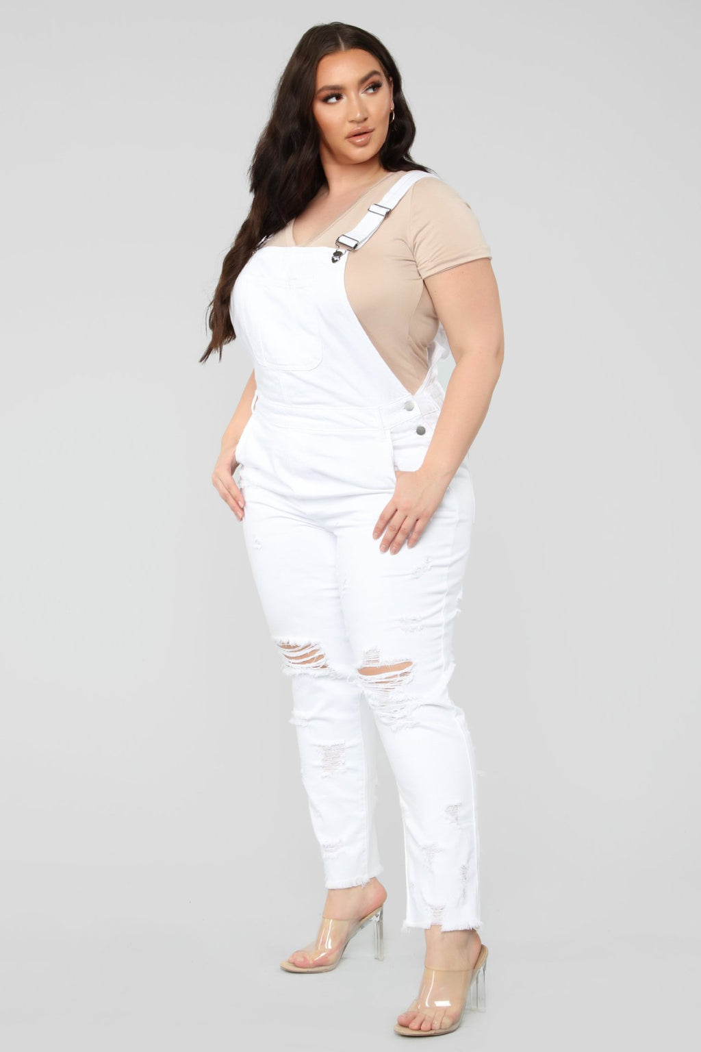 Plus Size White Denim Jumpsuit